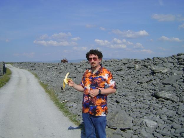 Eating a banana on the Aran Islands