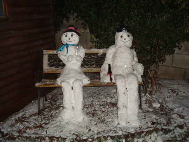 A snow couple built by Mary & Dave